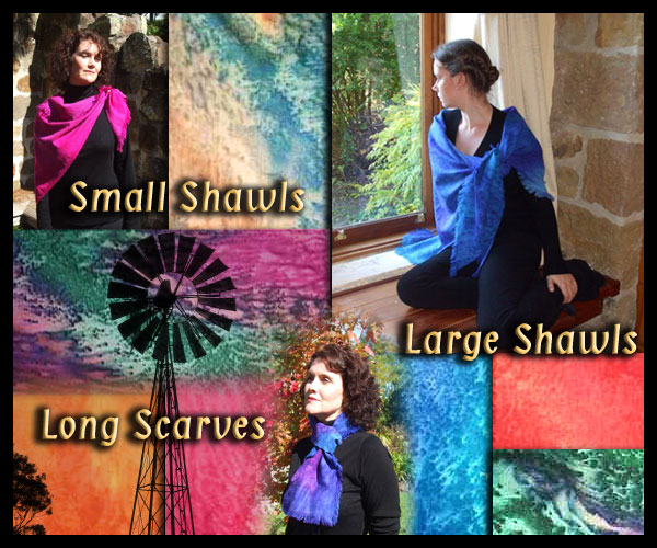 Pure wool painted Scarves and Shawls